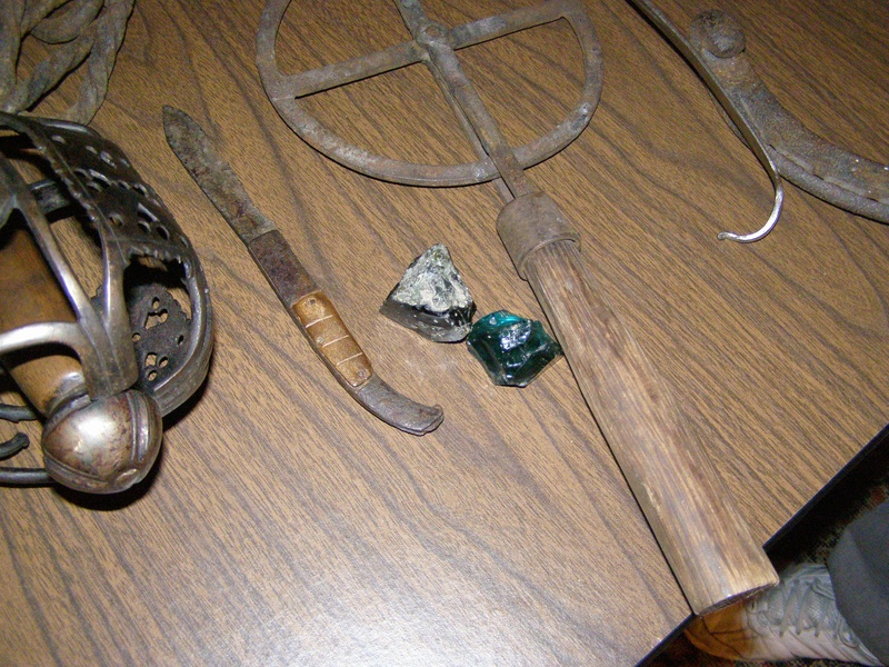 Basket Cage for sword and very early knife found underwater